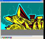 "Graffiti  ""SPIN"" hecho en ms paint"