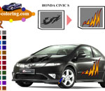 Оцвети Honda Civic S Car Coloring