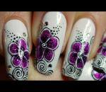 Tuto nail art d'une fleur fuchsia et tourbillons / fuchsia flower and swirls nail art